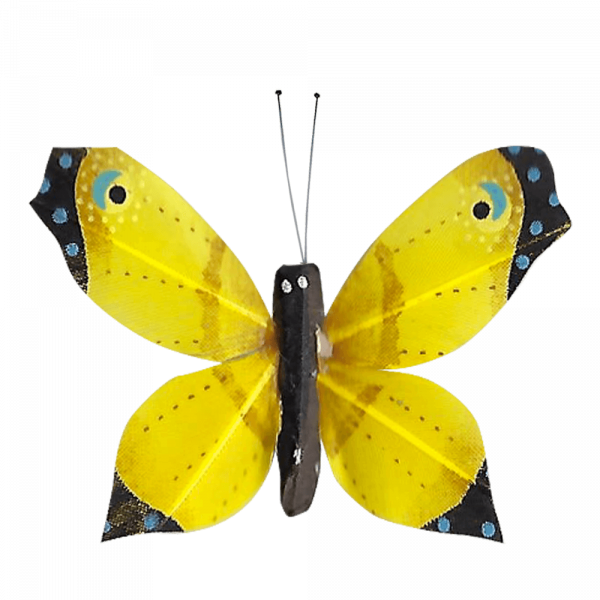 Déco Éthique Solaire Papillon 3D Jaune Faucon Titan