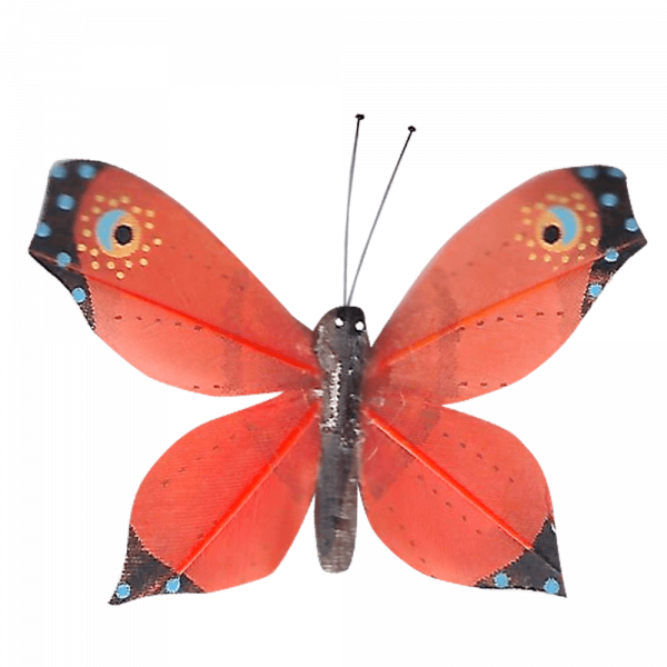 Déco Éthique Solaire Papillon 3D Orange Faucon Titan