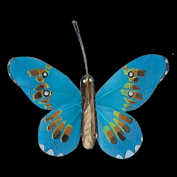 Décoration Énergie Solaire Papillon Apollon Cuivré Bleu
