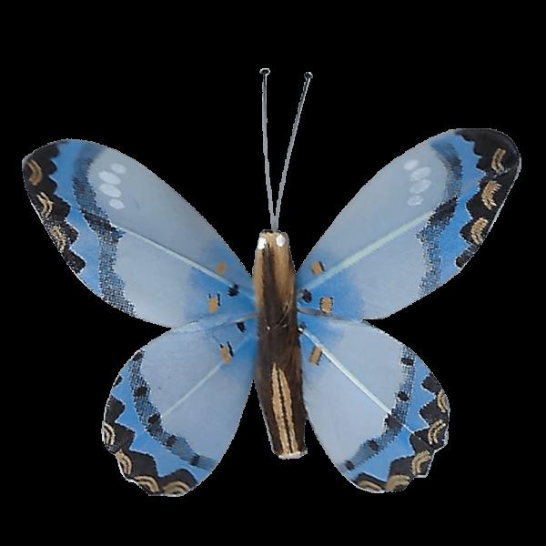 Décoration Énergie Solaire Papillon Citron Corail Bleu