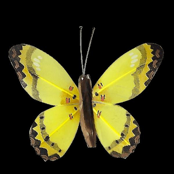 Décoration Énergie Solaire Papillon Citron Corail Jaune