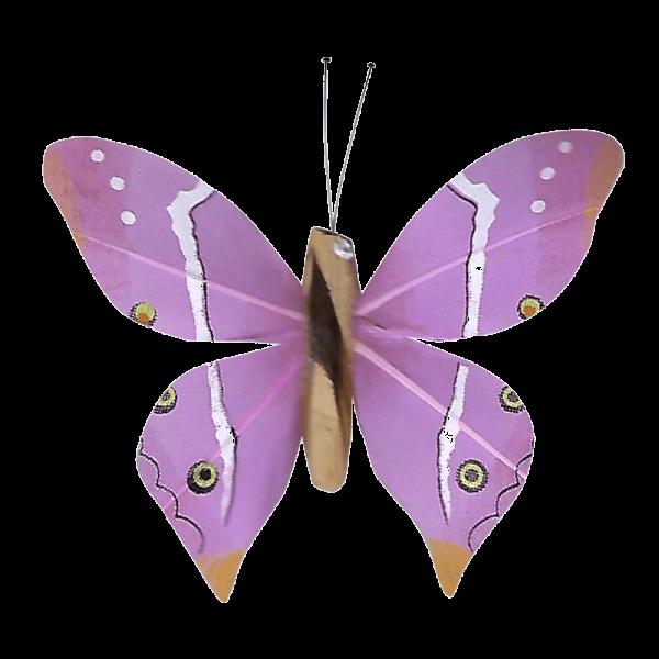 Papillon Animé Ailes Paon Boisé Rose