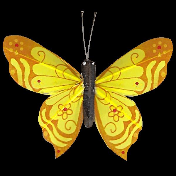 Papillon Sans Piles Ailes Douceur Nacrée Jaune