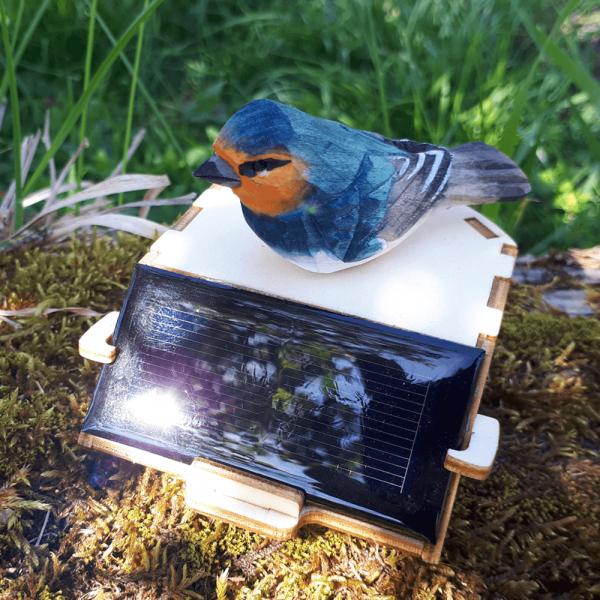 Déco Photovoltaïque Jardin Mésange Bleue sur Socle