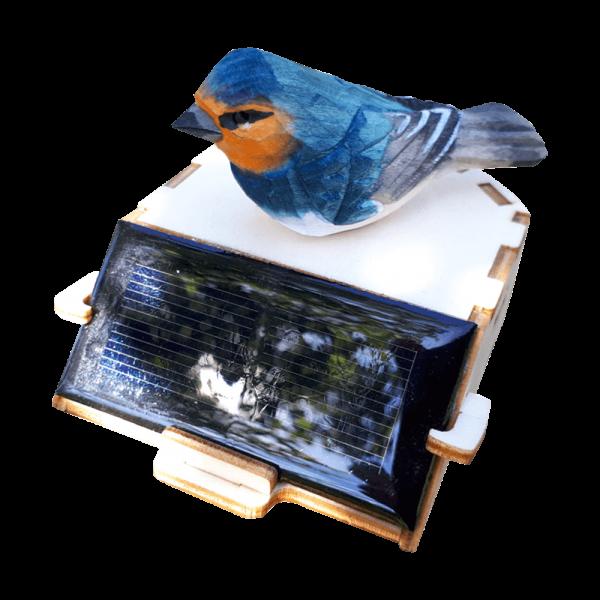 Décoration Photovoltaïque Oiseau Bleu sur Socle